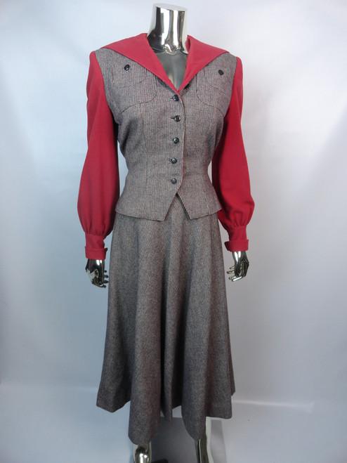 Vintage Late 40's Navy Silk Taffetta Dress w/ White Stripe Detail SOLD!