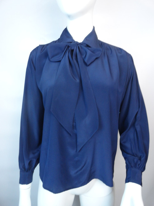 Vintage 70's Yves St Laurent Navy Silk Tie Neck Blouse