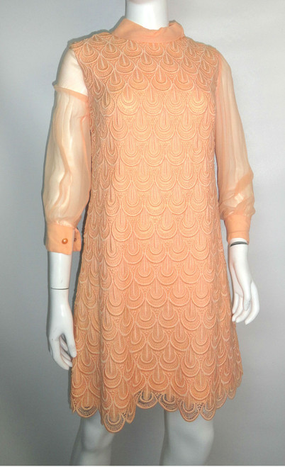 Vintage 60's Crochet Shift Dress w/ Removable Chiffon Sleeves &Neck