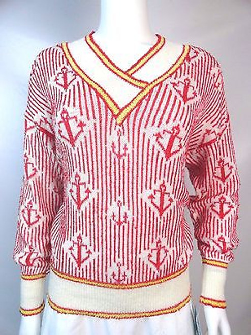 Vintage 80's Brenda French Hand Loomed Nautical Sweater