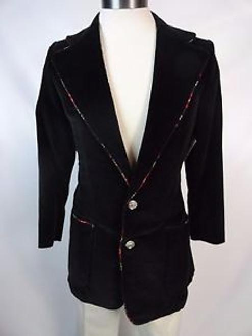 "Vintage 70's ""Town Shop"" Black Velvet Blazer"