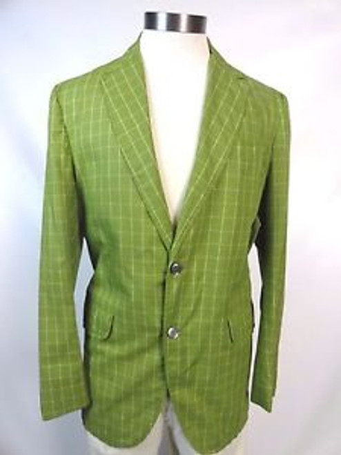 "Vintage 60's ""Country Squire"" Pea Green Grid Pattern Blazer"
