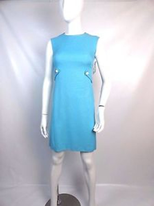 """Vintage 60's """"Leslie Fay"""" Sky Blue Belted Shift Dress"""