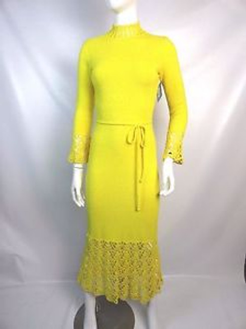 "Vintage 70's ""Saks 5th Ave"" Yellow Knit Crochet SOLD"