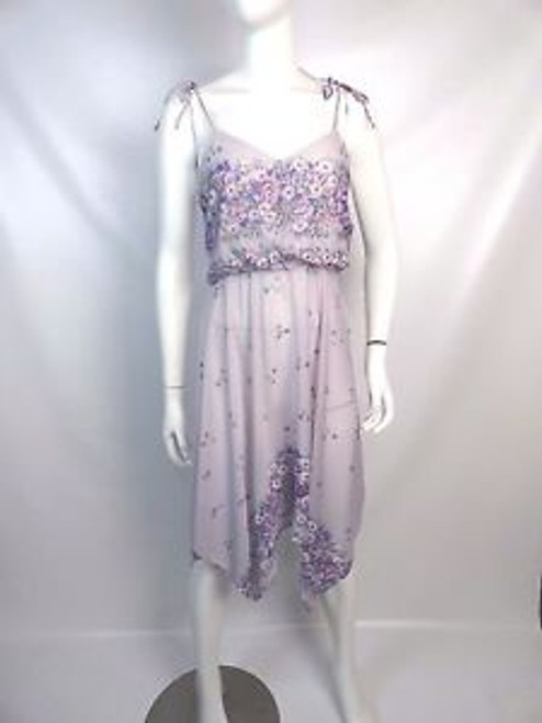 Vintage 70's Lavender Handkerchief Floral Pattern Dress