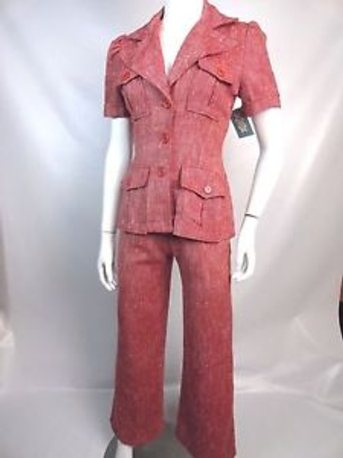 Vintage 70's Red w/ White Bouclé Pant Suit