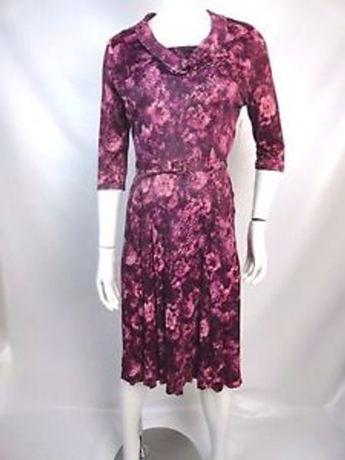 "Vintage 40's ""Classic Lady"" Purple Abstract Floral Dress SOLD"
