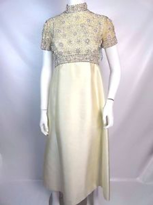 "Vintage 60's ""Seaton Enterprises Ltd"" Cream Gown w/ Beaded Bodice"