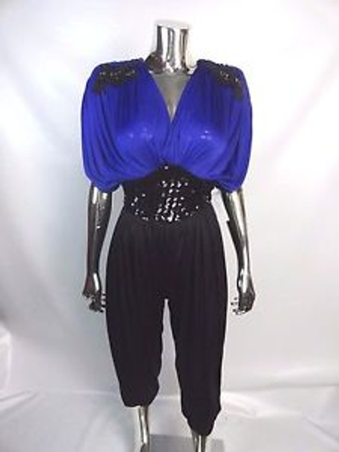 "Vintage 80's ""Susan Roselli for Vijack"" Blue and Black Jumpsuit"