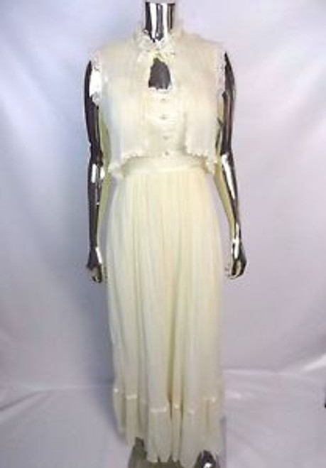 Vintage 70's Gunnie Sax Style Gauzy Peasant Dress