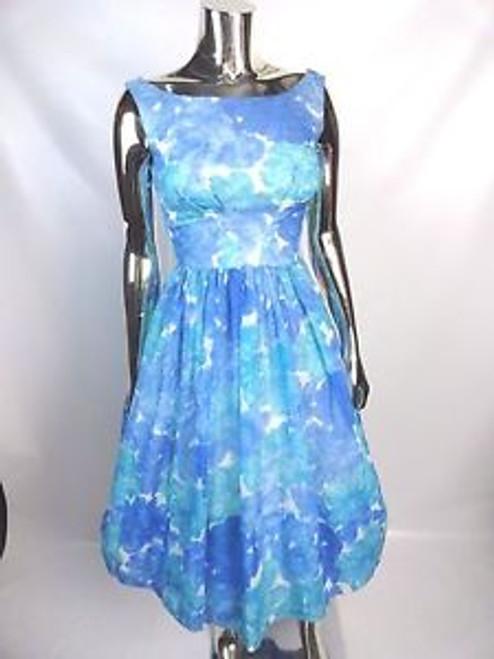 Vintage 60's Blue Floral Dress w/ Swag Back SOLD