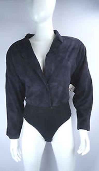 Vintage 1980's Donna Karan Black Suede and Knit Jumper