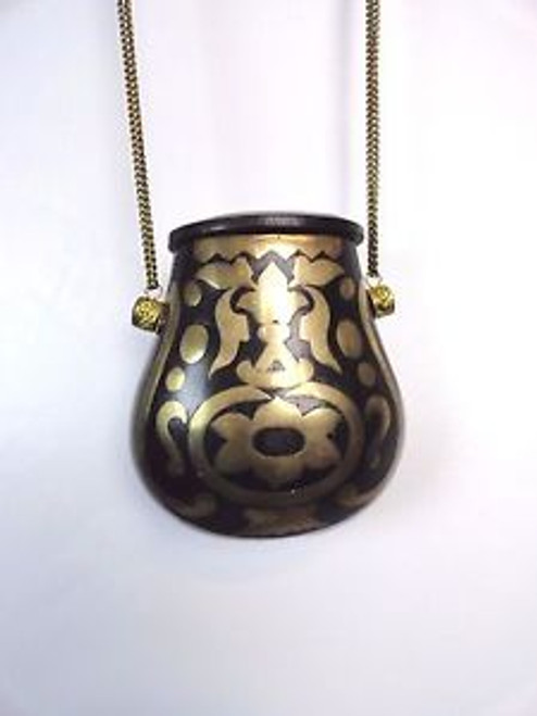 Vintage Wooden Shell Purse with Brass Detail SOLD