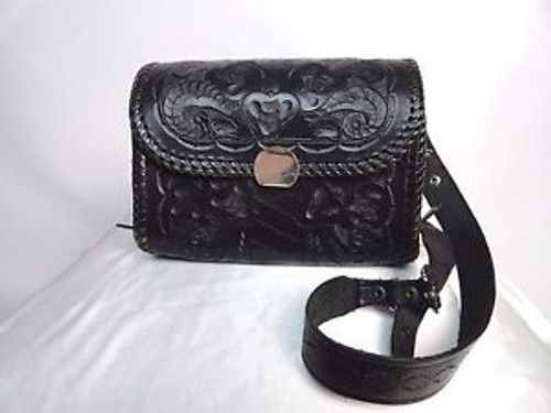 Vintage Black Tooled Leather Shoulder Bag SOLD