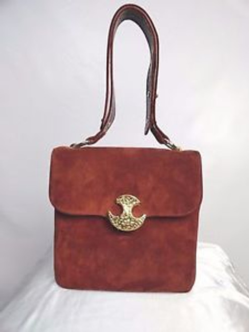 "Vintage 70's Rust Suede ""Varon"" Shoulder Bag"