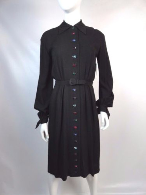 Vintage 40's Dress w/ Multi Colored Rhinestone Buttons