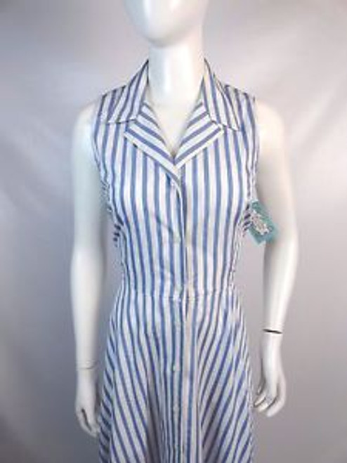"Vintage 80's ""Lizsport"" Blue and White Striped Shirtwaist Dress SOLD"