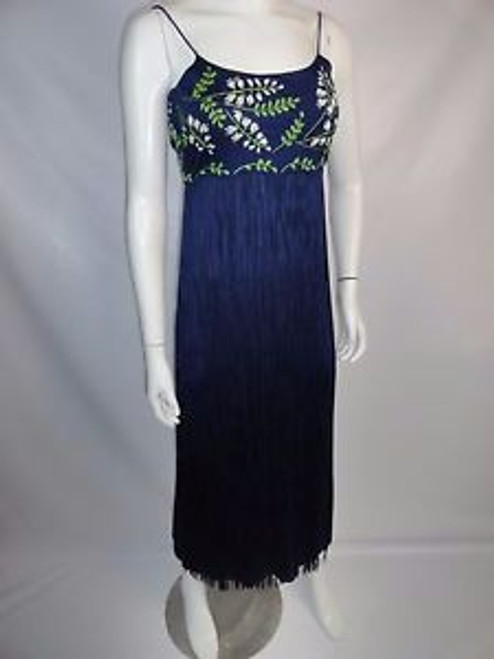 "Vintage 70's ""Richilene"" Empire Waist Embroidered Fringe Dress"