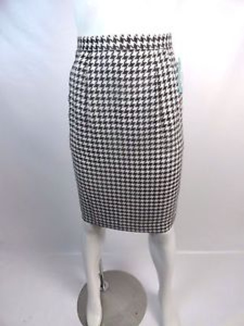 Vintage 80's Black and White Hound's-tooth Pencil Skirt