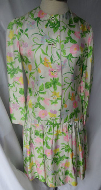 1980s Bill Blass Floral Pleated Drop Waist Dress with Matching Sash
