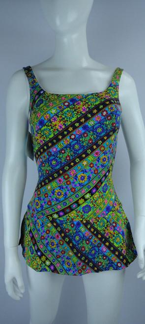Vintage Early 1960s Rose Marie Reid Skirted Floral Swim Suit