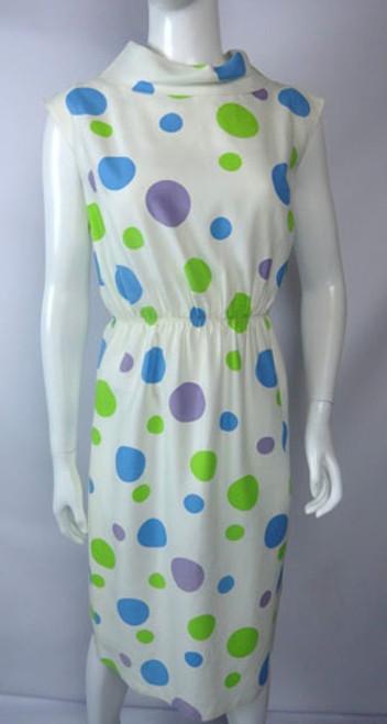Vintage 1960s Green, Purple, Blue Polka Dot Shift Dress by Nardis of Dallas