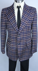 Vintage Plaid 1970s Polyester Sportcoat