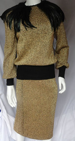 Carol Patterson 1980s Metallic Gold Feathered Knit Sweater and Skirt Set