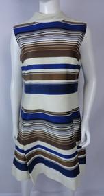 Vintage 1960s Lilly Rubin Navy Blue, Brown, Cream Shift Dress
