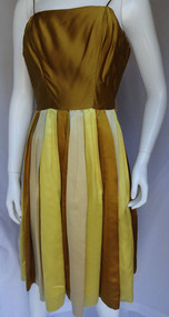 1950s Gold Toned Satin Kasper Cocktail Dress