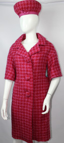 Vintage 1960s Mam'selle by Betty Carol Hot Pink Houndstooth Coat and Hat