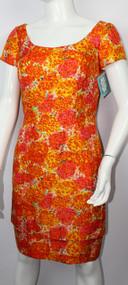 Vintage 1960s Mr. Blackwell Orange Floral Print Dress