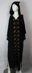 Vintage 1960s Black Hand Embroidered Hooded Silk Caftan