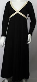 Vintage 1960s Rudi Gernreich Long Sleeve Black and White Maxi Dress