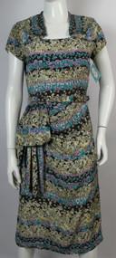 Vintage 1940s Paula Brooks Printed Silky Rayon Day Dress