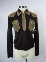 "Vintage 70's ""Veronesi"" Knit Sweater w/ Leather Details"
