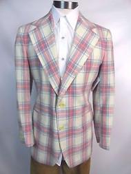 "Vintage 70's ""Stanley Blacker"" Pastel Plaid Sportcoat"