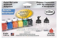 Testors     All Purpose Acrylic 6 Color Airbrush Paint Set - TS-9199