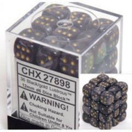 Chessex: Lustrous Black/Gold 12Mm D6 Dice Block # CHX27898