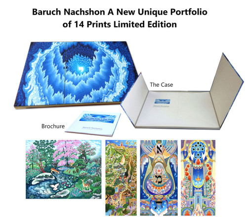 "Year: 2015 Edition size: The Edition is limited to 180 sets: 14 in classical blue box Place of Production: Jerusalem Fine Art Prints, Jerusalem, Israel Case Size: 30""x23.6""x1.6"" (84x 60x3 cm) Paper Size: 31.5""x23.1"" (80x60cm) Number of Pages: A Portfolio of Fourteen prints Signed and numbered by the artist Print Technology: Printed under the Digigraphy standard — Museum and Archives quality.  Paper: Printed on Arches Vilan 240 gram paper. Binding: Hand bound with quality materials.     About the Portfolio  The present collection began with the selection of 14 works, because 14 is the  numerological equivalent (gematria) of the Hebrew acronym Chabad. (-Can)  The acronym Chabad stands for three Hebrew words, themselves representative  of ancient mystical concepts: Chochma, Bina and Da'at. (i-mn Fula .nv-fi) These  words, and more particularly the concepts they represent are the point of  departure for and the unifying theme of all the pieces being presented in this  collection.  The essence of Chochma, which is commonly translated as wisdom, must journey  between worlds and cross over to our plane of existence before it can be attained  by human consciousness. The primary manner in which this divine wisdom is  brought from these distant realms to our perception is by means of prayer and  benediction. The benediction and the prayer are the means by which all of the benevolent  influence that gives life and light to existence are brought into our world and- in  particular- into the Land of Israel.  Regarding the Land of Israel, it is written in the Torah that ""It is a land upon which  the eyes of Hashem your God rest their gaze from the beginning of the year until  the end of the year."" The purpose of all of Creation is to unify the Name of the Holy One Blessed is He  in this world, but this purpose will not be achieved until the light of His Name  comes to be revealed in the world. When this comes to pass then, as our sages  have said, ""our eyes will behold your (Hashem's) return to Tzion in your mercy.""  This means that The Holy One Blessed is He will return to reign in His world with  all of His glory and splendor apparent to His creations as He brings about the  ultimate and complete redemption. Baruch Nachshon  Folio, images and texts, All Copyright 2015 by Baruch Nachshon No part of this book may be reproduced or utilized in any form or by any means, electronic or mechanical,  including photocopying, recording or by any information storage and retrieval system, without explicit permission in writing from the publisher. All rights reserved"