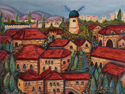 Red Rooftops Original by Geula Twersky