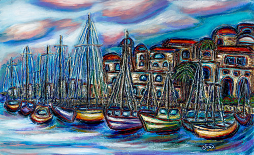 Old Jaffa Port Original, Framed, by Geula Twersky