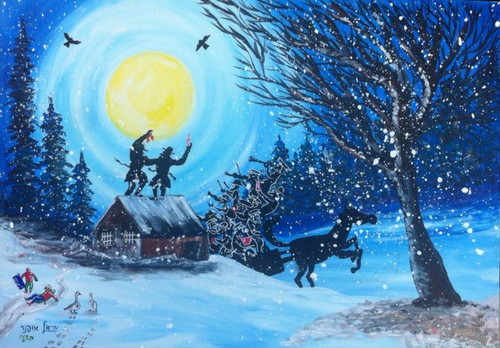 Chassidim Dancing in the Snow Original by Yehiel Offner