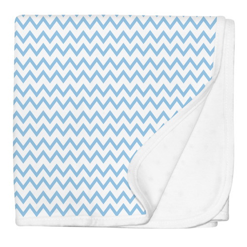 Blue Chevron Stroller Blanket