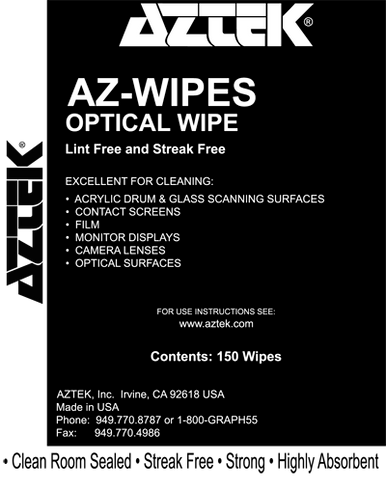 "Aztek Optical Wipes for cleaning of sensitive surfaces, 150 wipers per box, 12"" x 12"", clean room sealed and highly absorbent."