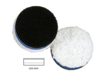 """Features: Less matting down Moderate to Heavy defect removal Good finishing Durability Increased rotation on contoured surfaces Primary Target: Heavy Polishing Specifications:  Polishing face material: Microfiber Interlayer: Foam Diameter: 1 3/8"""" Thickness: 7/16"""" Microfiber Color: White Foam Color: Blue Velcro Color: Black   Made in the USA"""