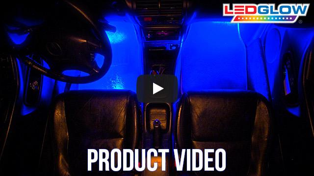 ledglow 4pc blue led car interior lights. Black Bedroom Furniture Sets. Home Design Ideas