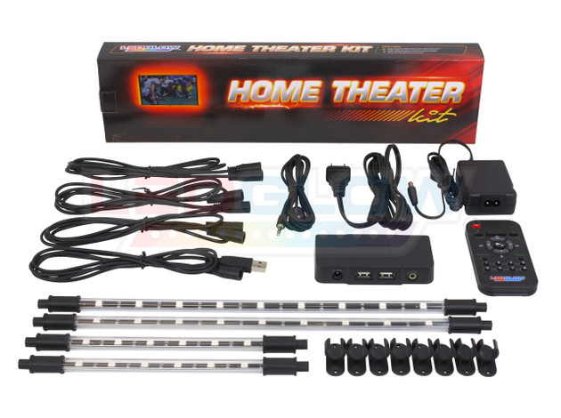 4pc Million Color Home Theater LED Tubes, Cables, Mounting Brackets, Control Box & Wireless Remote