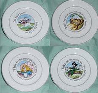 Alice In Wonderland Dessert Plates S/4
