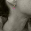 gem drop - pink tourmaline 18kt ER  2ct
